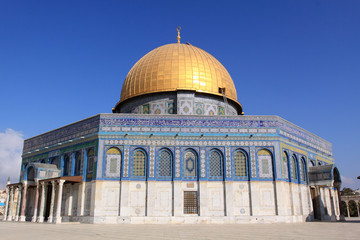 A close-up of the Dome of the Rock at Sunrise, Jerusalem
