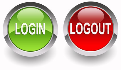 Login/Logout glossy buttons