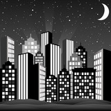 A cityscape at night. Vector Illustration.