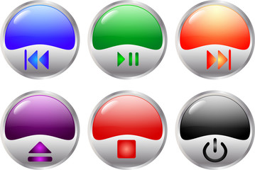colorful multimedia buttons - vector