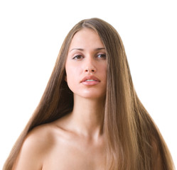 woman with l long hair.