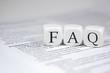 Leinwandbild Motiv FAQ in Würfeln