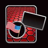 United states flag on red hexagon banner template poster