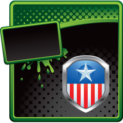 Patriotic pin green and black halftone banner