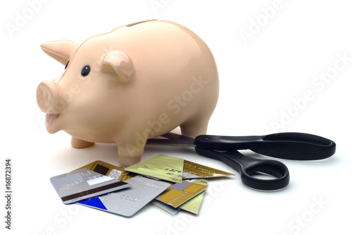 Piggy Bank, Scissors, and Cut-Up Credit Cards Against White Back