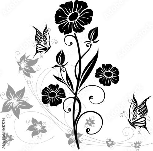 Vektor: Wandtattoo, Blumen, Blüten, Schmetterlinge, floral