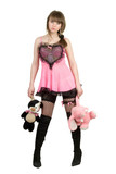 Pretty girl in a pink dress with plush toys poster