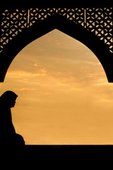 silhouette of and islamic women during eid-fitr