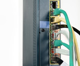 Network router and ethernet cables poster