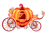 Pumpkin carriage for Cinderella or Halloween cards poster