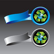 Recycle symbol around earth ribbons