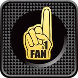 Fan hand black checkered web button poster