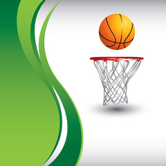 Basketball and hoop on vertical green wave background