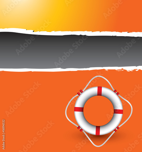Orange ripped banner with life ring