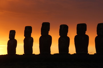 Moai Daybreak at Ahu Tongariki, Easter Island, Chile