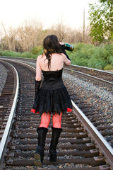 Drinking on the train tracks