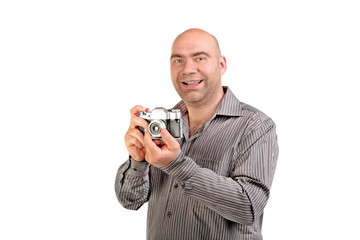guy with retro photo camera
