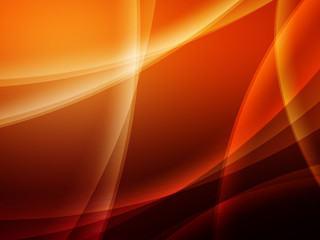 Abstract orange Composition with lines and curves