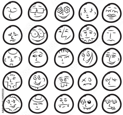 Happy and sad creative doodle head smile icons