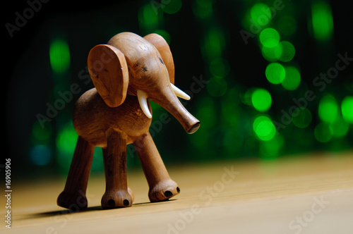 Elephant in bokeh forest