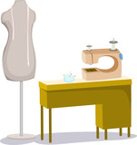 tailor mannequin with tape  and sewing machine poster