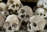 Skulls from Khmer Rouge victims in Choeung Ek near Phnom Penh