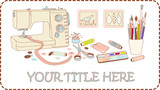 Banner for crafts and needleworks vector brown frame poster