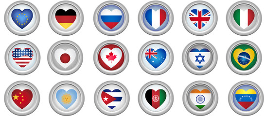 Set of 18 buttons of several countries heart shaped flags