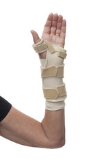 Wrist in long splint and bandage on white background