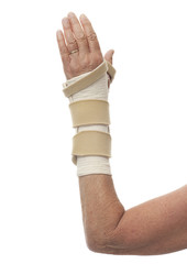 Left arm in wrist brace and bandage