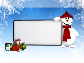snowing frame, snowman