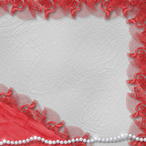 Card for anniversary or congratulation with pearls and red lace poster
