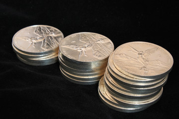 growth pile of pure silver coins
