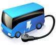 Autocar bleu électrique (reflet)