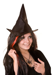 witch  in black dress and hat.Isolated.Halloween.