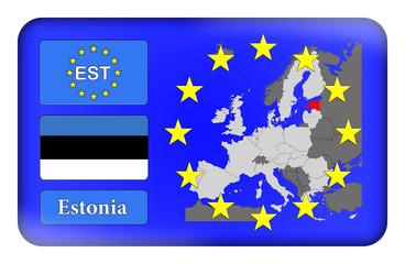 3D-Button Europäische Union - Estland