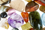 Fototapety collection of beautiful precious stones against white background