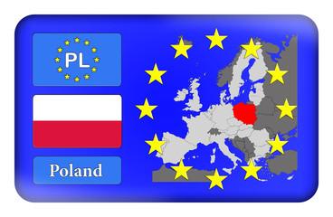 3D-Button Europäische Union - Polen