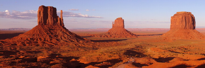 Colored Monument Valley during sunset