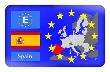 3D-Button Europäische Union - Spanien