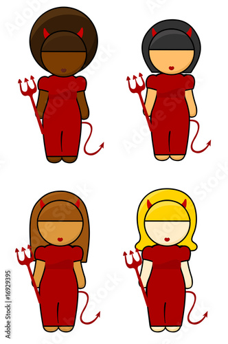 Illustration of ethnic Devil Girls on white background