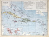 Old map of Antilles 1883