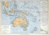 Old map of Oceanie, Australia 1883