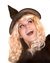 witch blond in black dress and hat.Isolated.