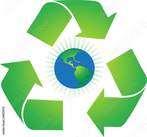recycle sign with a globe