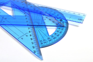 Set of blue ruler triangle and protractor