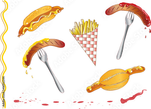 Pommes, Fritten, Bratwürstchen, Hot dog, Fast food Set - 16932344
