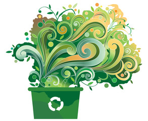 Green recycle bin with graphic elements