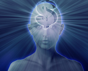 Woman thinking about money dollars,floating over head