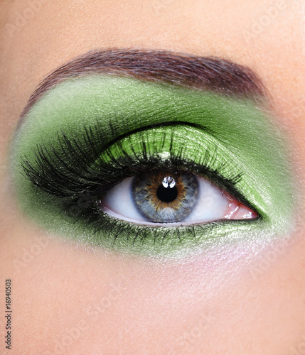 Green make-up of woman eye